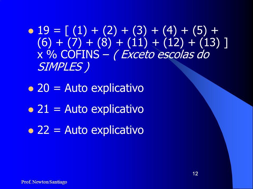 19 = [ (1) + (2) + (3) + (4) + (5) + (6) + (7) + (8) + (11) + (12) + (13) ] x % COFINS – ( Exceto escolas do SIMPLES )